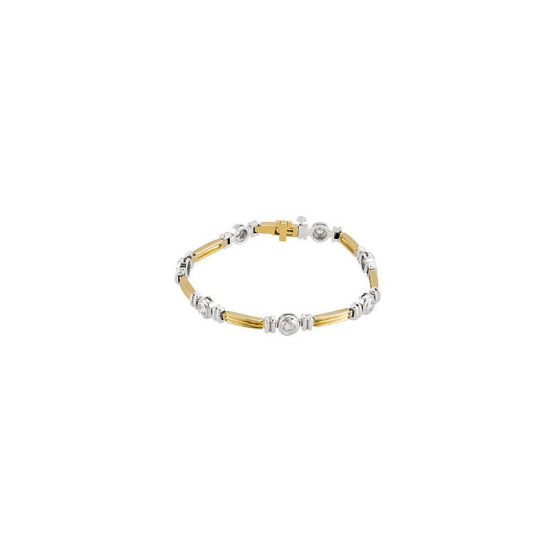 Signature Collection 14k White and Yellow Gold Bezel Set Diamond Tennis Bracelet - ELIBRC651SS - 2 Tone