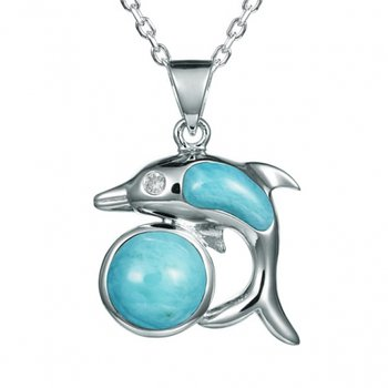 Alamea Sterling Silver Larimar Dolphin and Ball