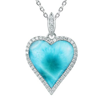 Sterling Silver Larimar Heart Pendant with Cubic Zirconia
