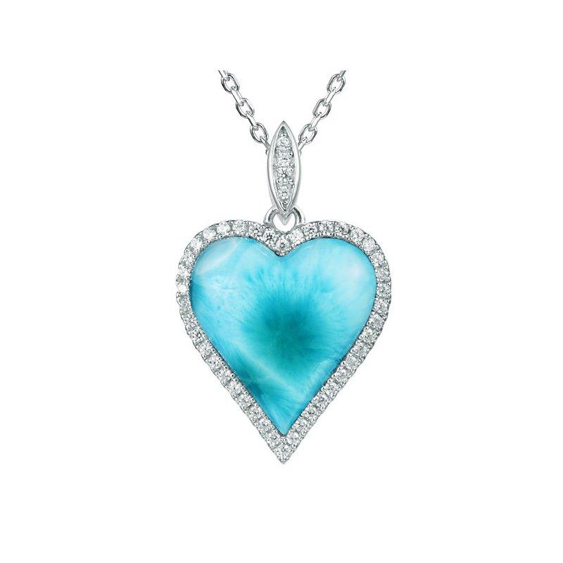 Alamea Larimar  Sterling Silver Larimar Heart Pendant with Cubic Zirconia