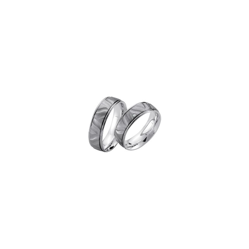 Samuel Jewels Palladium and Silver 7mm Wedding Band