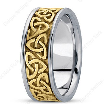 Unique Settings HM222 - Y - W - 14k Yellow and White Gold Handmade Celtic Design 8mm Men's Wedding Band