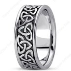Unique Settings Unique Settings HM222 - Y - W - 14k Yellow and White Gold Handmade Celtic Design 8mm Men's Wedding Band
