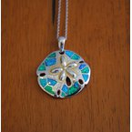Kovel Sealife Kovel Sea Life Collection Sanddollar Pendant in Sterling Silver with Lab Created Opal