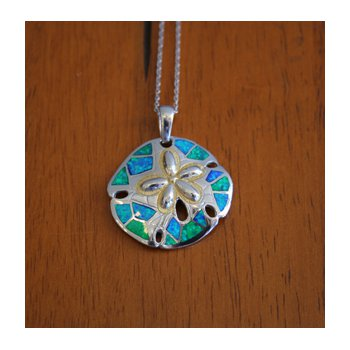 Kovel Sea Life Collection Sanddollar Pendant in Sterling Silver with Lab Created Opal