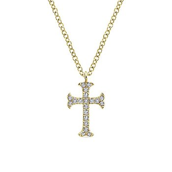 14k Yellow Gold Diamond Cross by Gabriel NY Style #NK5427Y45JJ