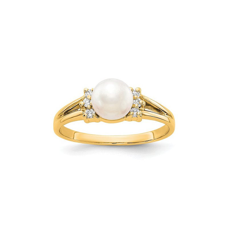 Signature Collection From the Pearl Collection, 14k Yellow Gold 6mm Pearl and Diamond Ring