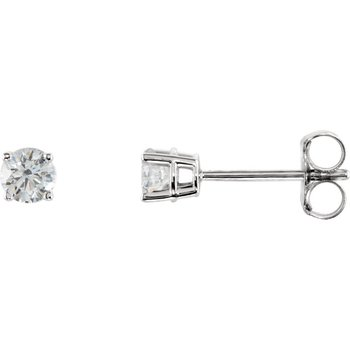 14k White Gold 4-prong Diamond Stud Earrings - 0.30ctw