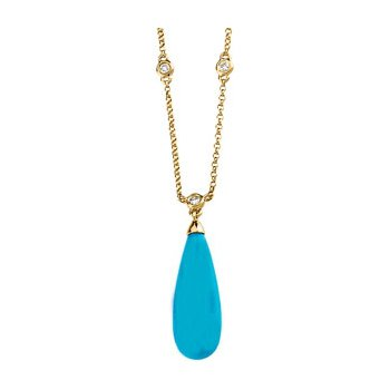 Genuine Turquoise Briolette & Diamond Necklace