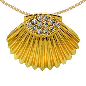 14k Yellow Gold Diamond Shell Pendant