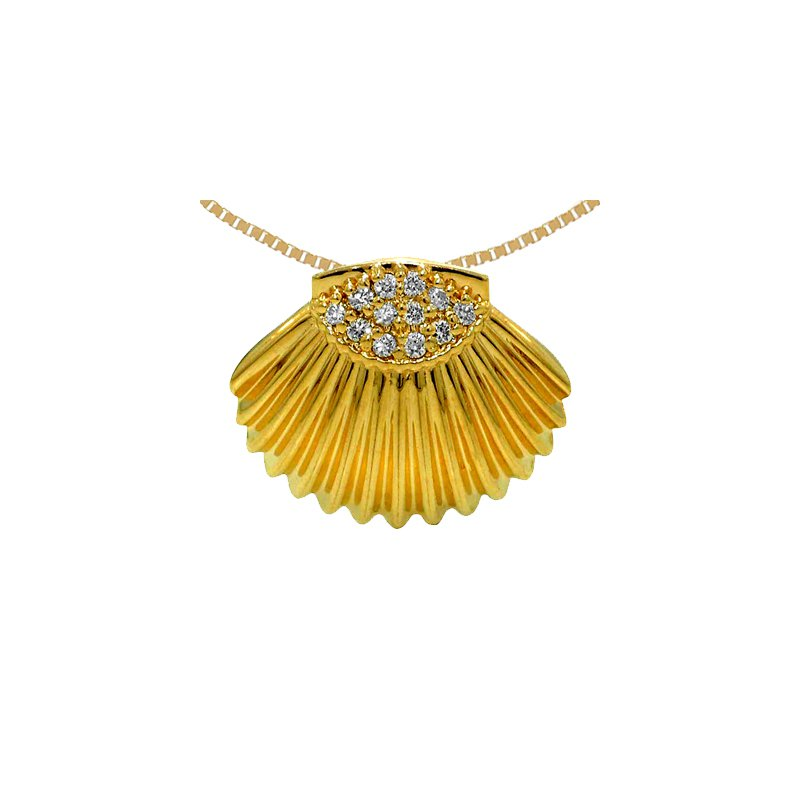 Sealife Jewelry 14k Yellow Gold Diamond Shell Pendant