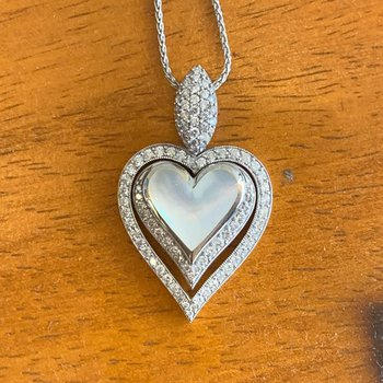 Kabana 14k White Gold Mother of Pearl and Diamond Heart Pendant