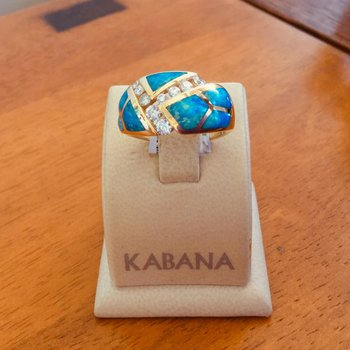 Kabana Australian Opal Inlay and Diamond Ring - Style #35888