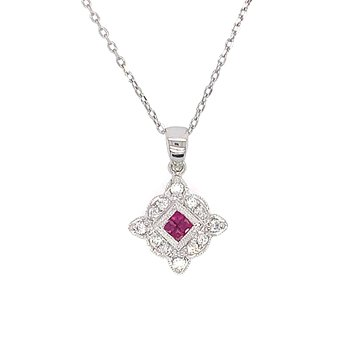 14k White Gold Vintage Inspired Ruby and Diamond Pendant