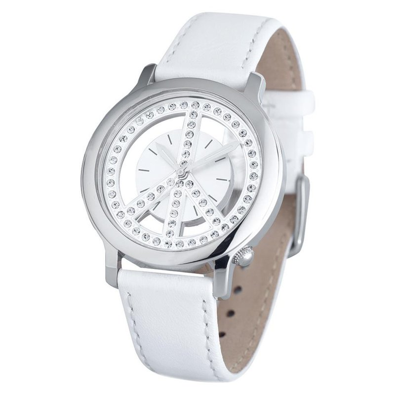 Swiss Watches Ladies Peace Movement Watch with White Leather Strap