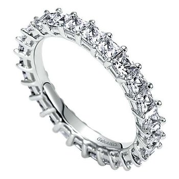 14k White Gold Princess Cut Shared Prong Eternity Band Anniversary Ring