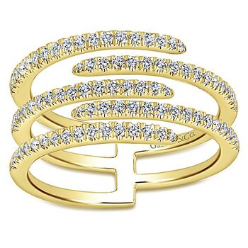 Kaslique 14k Yellow Gold 5 Band Diamond Designer Fashion Ring by Gabriel NY - Style #LR51113Y