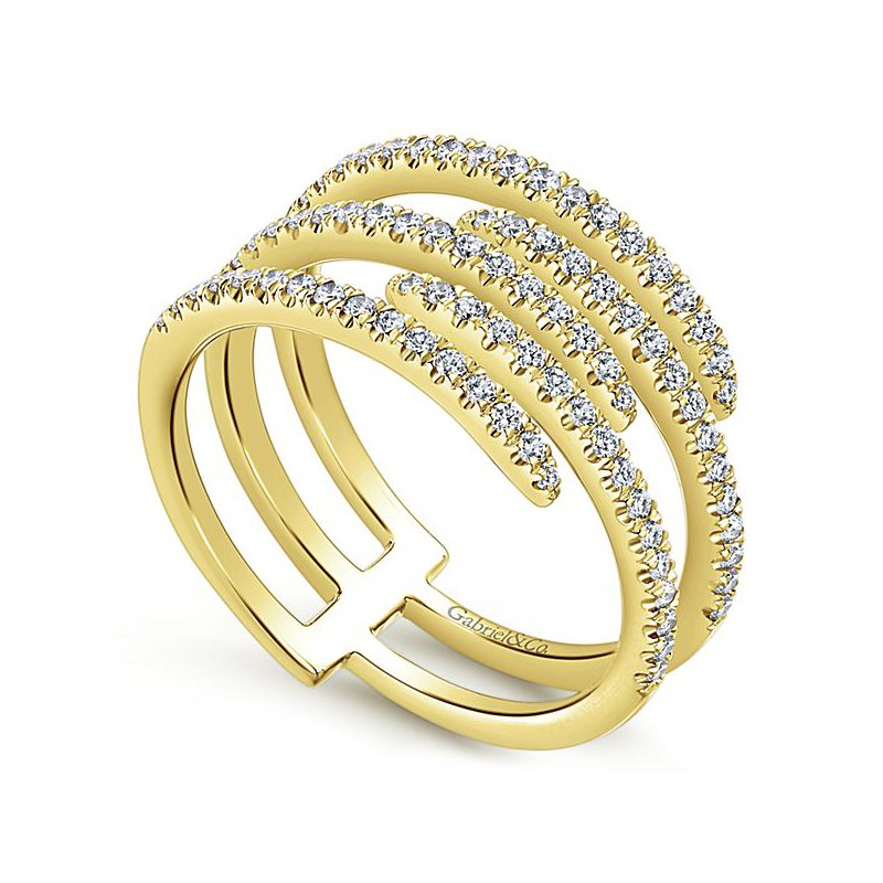 Signature Collection Kaslique 14k Yellow Gold 5 Band Diamond Designer Fashion Ring by Gabriel NY - Style #LR51113Y