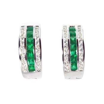 18k White Gold Emerald and Diamond Earrings - #31931