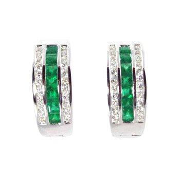 18k White Gold Emerald and Diamond Earrings - #31931