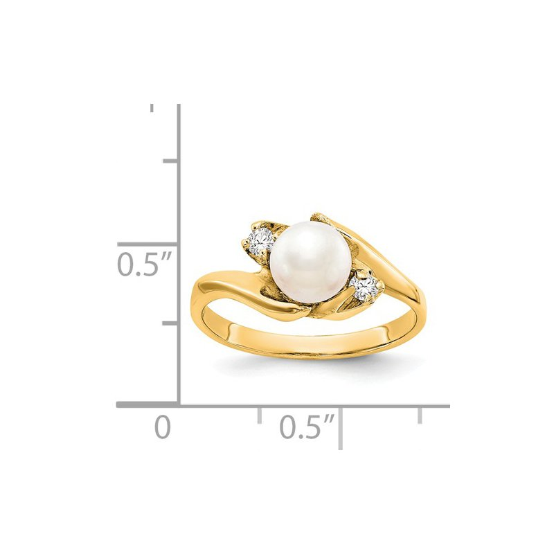 Signature Collection 14k Yellow Gold 6mm Freshwater Pearl Ring with .06cts Diamonds