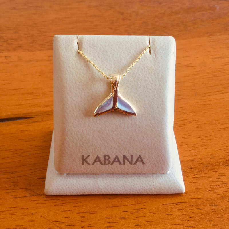 Kabana Jewelry 14k Yellow Gold Whale Tail with White Mother of Pearl Inlay