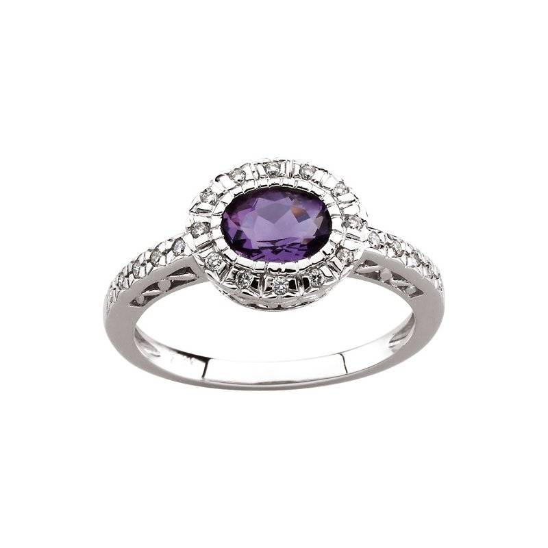 Signature Collection Genuine Amethyst & Diamond Ring