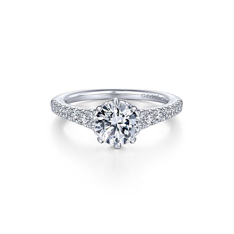 Gabriel NY 14k White Gold Straight Solitaire Engagement Ring by Gabriel NY