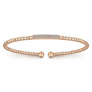 "14k Rose Gold 7"" Bujukan Diamond Flexible Bracelet by Gabriel NY"