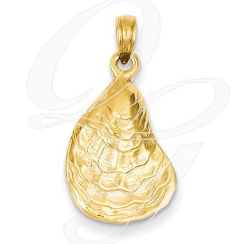 Quality Collection Sealife 14k Yellow Gold Oyster Shell Pendant