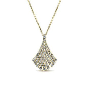 Gabriel NY 14k Yellow Gold Diamond Fan Necklace