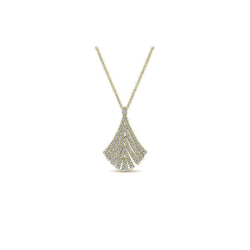Signature Collection Gabriel NY 14k Yellow Gold Diamond Fan Necklace