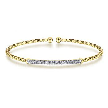 "14k Yellow Gold 6.5"" Diamond Flex Bangle Beaded Bracelet by Gabriel NY"