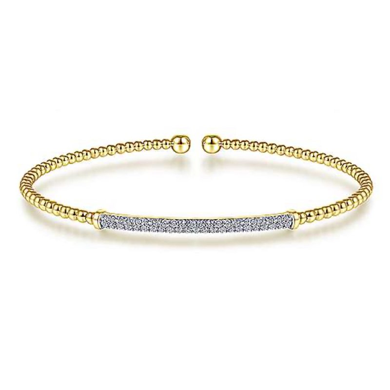 "Signature Collection 14k Yellow Gold 6.5"" Diamond Flex Bangle Beaded Bracelet by Gabriel NY"