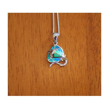 Sterling Silver and 18k Gold Plated Petite Stingray Pendant with Kyocera Lab Created Synthetic Opal.