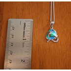 Kovel Sealife Sterling Silver and 18k Gold Plated Petite Stingray Pendant with Kyocera Lab Created Synthetic Opal.