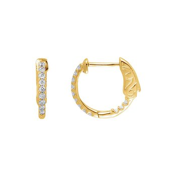 Inside Out Diamond Hoop Earrings in 14k Yellow Gold