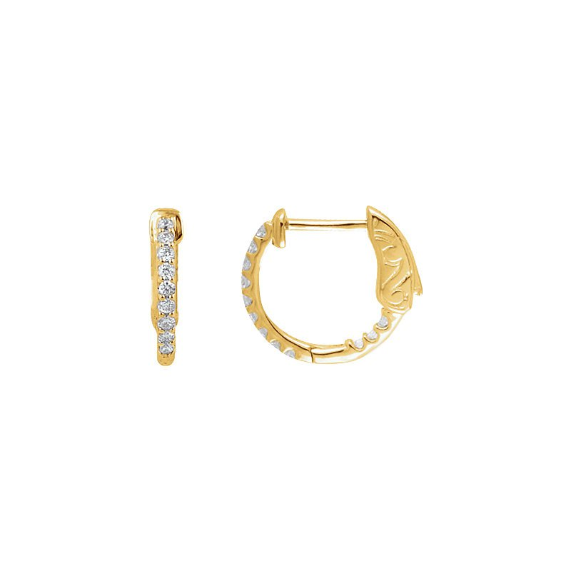 Signature Collection Inside Out Diamond Hoop Earrings in 14k Yellow Gold