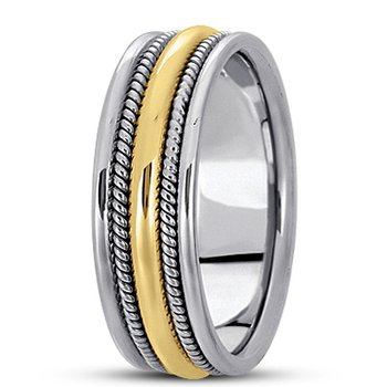 Unique Settings HM110 - W - Y - 14k White and Yellow Gold Handmade Handwoven 7mm Men's Wedding Band