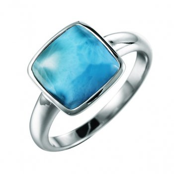 Sterling Silver Ring with Square Larimar