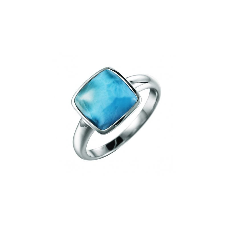 Alamea Larimar  Sterling Silver Ring with Square Larimar