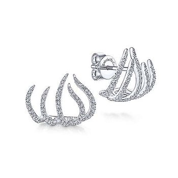 14k White Gold Tendril Diamond Stud Earrings by Gabriel NY