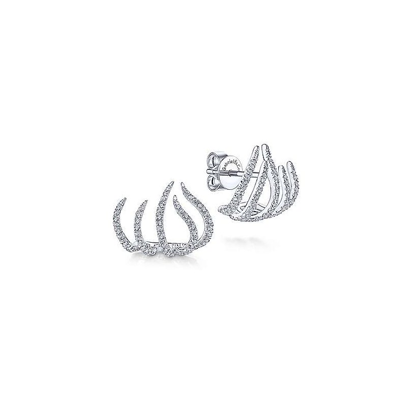 Signature Collection 14k White Gold Tendril Diamond Stud Earrings by Gabriel NY