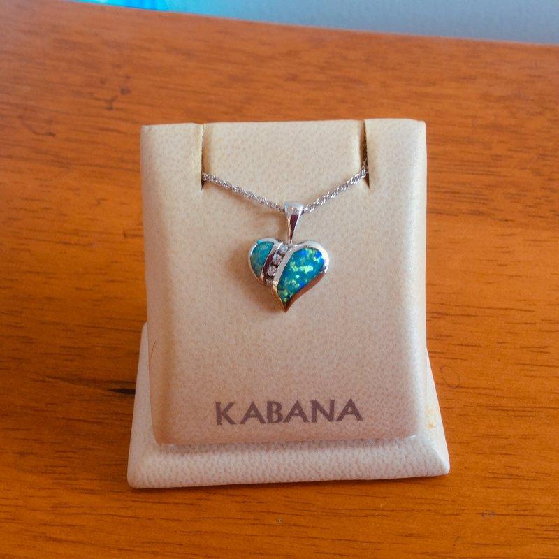 Kabana Jewelry 14k White Gold Petite Australian Opal and Diamond Heart by Kabana