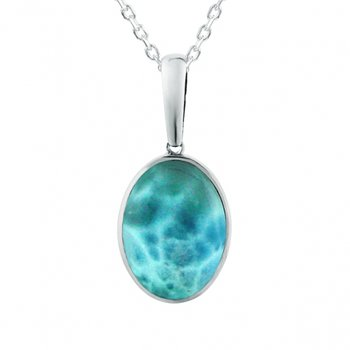 Sterling Silver Oval Pendant with Larimar