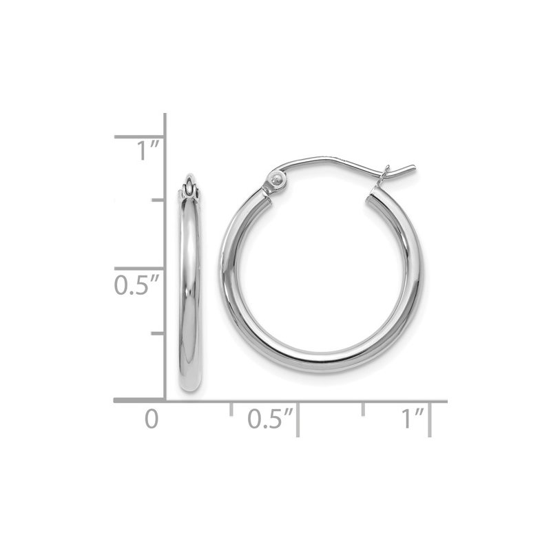 Signature Collection 14k White Gold Hoop Earrings