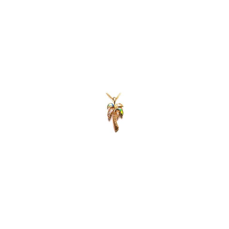 Kabana Jewelry Kabana Australian Opal Inlay & Diamond Palm Tree Pendant
