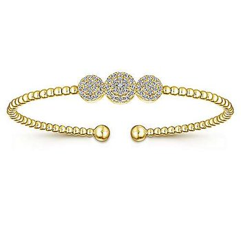 Signature Collection Bujukan Triple Halo 14k Yellow Gold Diamond Bangle Bracelet by Gabriel NY