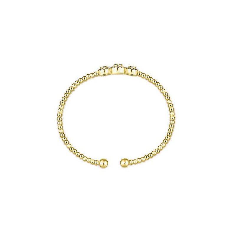Signature Collection Signature Collection Bujukan Triple Halo 14k Yellow Gold Diamond Bangle Bracelet by Gabriel NY