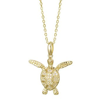 14k Yellow Gold Alamea Hawaii Turtle Pendant with Diamonds